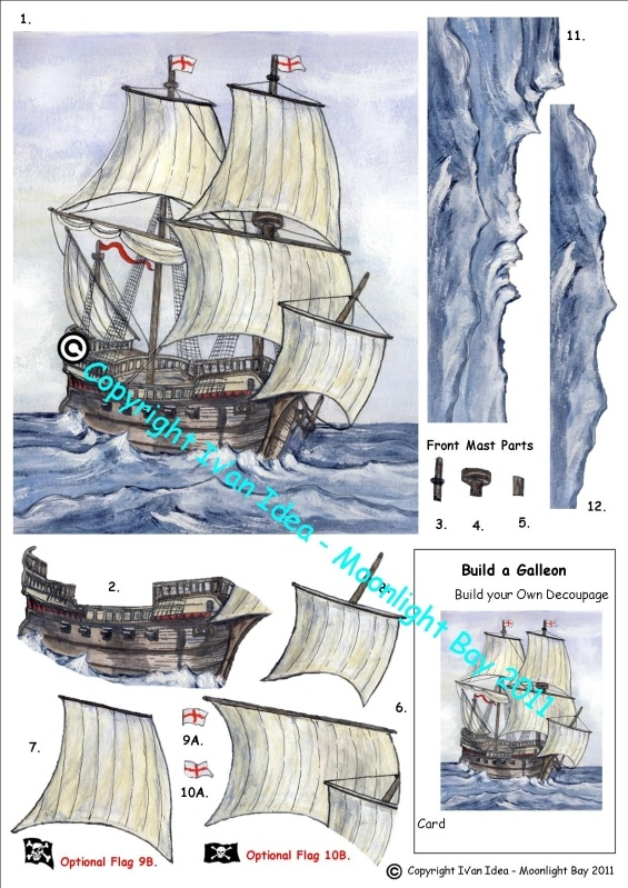 Galleon Decoupage Sheet