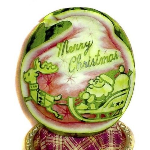 Best christmas fruit carvings images on pinterest
