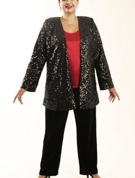 66206ff548d Plus Size Designer Evening Jacket All Over Sequins Black SHOP NOW  Unique  jackets for women Sizes 14 - 36