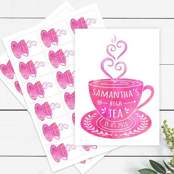 Printed Personalised Sticker Labels High Tea Bridal Shower