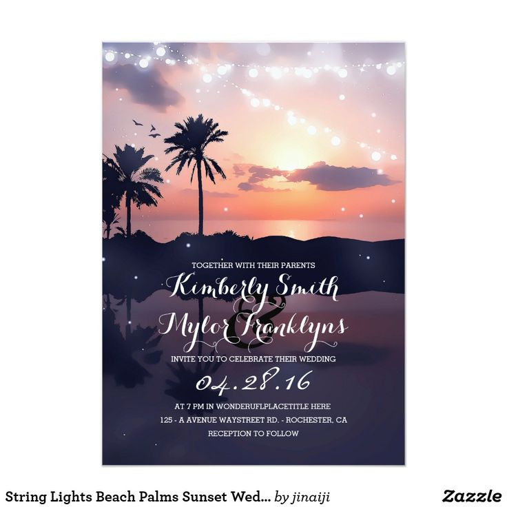 """String Lights Beach Palms Sunset Wedding Card Beach wedding invitations with sunset, palms, sea and string lights. --- All design elements created by Jinaiji --------------------------------------- DESIGN YOUR OWN INVITATION: ------------------------------------------------ 1. Just hit the """"CUSTOMIZE IT"""" button and you will be able to change the font type, color, and size, along with a number of other things. 2. Before you click """"Done"""", make sure the image is sized properly. Use the """"Fill""""…"""