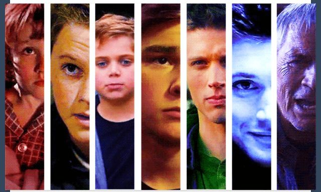 Dean Winchester through the years. Hunter Brochu (toddler; 1x01). Ridge Canipe (child; 1x18 and 3x08). Nicolai Lawton-Giustra (preteen; 7x10). Dylan Everett (16 years old; 9x07). Brock Kelly (17 years old; 4x13). Jensen Ackles. Chad Everett (elderly; 5x07).
