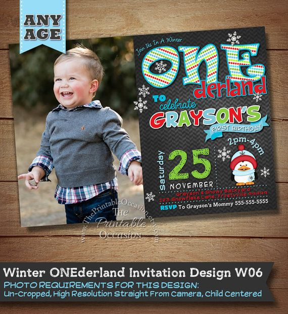 Winter ONEderland Birthday Invitation Red by ThePrintableOccasion