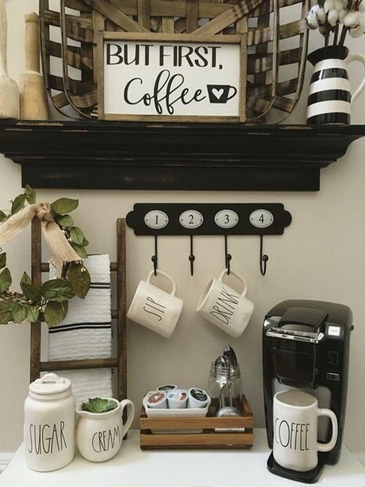 87 best images about coffee bar sideboard displays on for Coffee kitchen designs