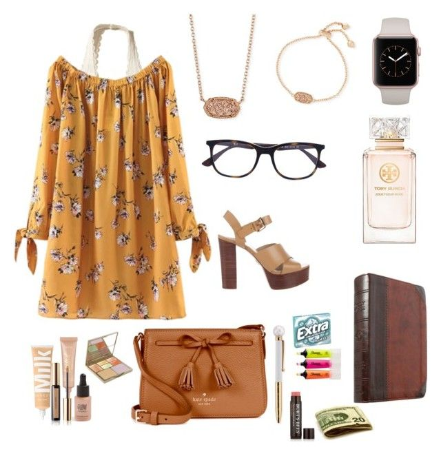 """""""•That's what I love about Sundays•"""" by livvywhi on Polyvore featuring Hollister Co., Michael Kors, Kate Spade, Kendra Scott, tarte, Topshop, Stila, Yves Saint Laurent, Ray-Ban and Tory Burch"""