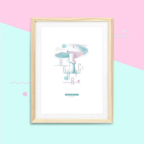 Affiche champignon AGARIC #MUSHROOM -1- |  Impressions botaniques & graphiques en édition limitée