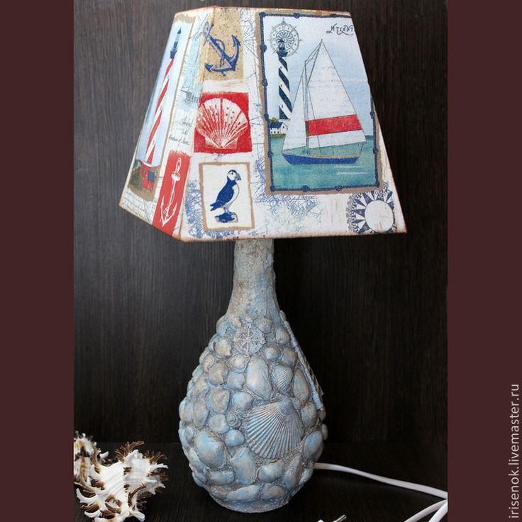 """Купить """"Морская"""" настольная лампа - разноцветный, морской, морской стиль, терра, ракушки, комната мальчика"""