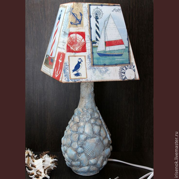 """Купить """"Морская"""" настольная лампа - разноцветный, морской, морской стиль, терра…"""