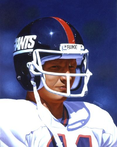 """Phil Simms, Giants 16""""x20"""" by David Levinson."""