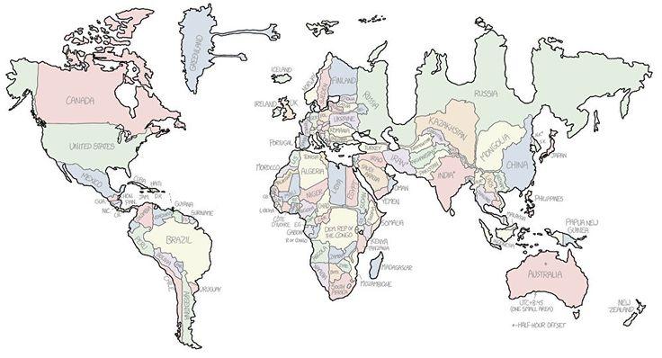 Mapamundi: qué forma tendría tu país si dependiera de su huso horario