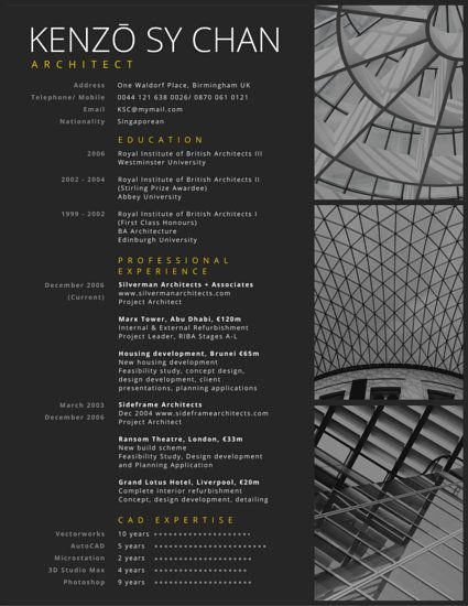 Architect Resume Samples Magnificent 12 Best Cv Architecture Images On Pinterest  Resume Design Design .