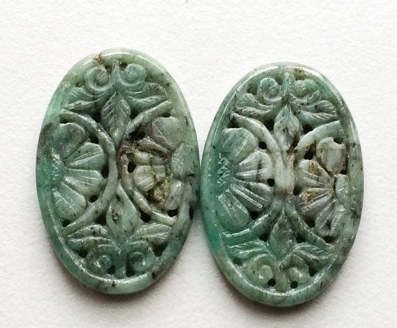 Emerald Filigree Hand Carved Matched Pairs by gemsforjewels