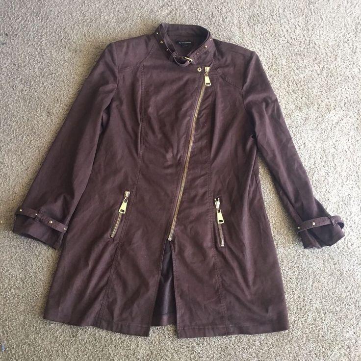Ashley Stewart Brown Suede Coat Plus Sz 18/20 Gold Zipper Belt Buckle Details  #AshleyStewart #BasicCoat #Casual