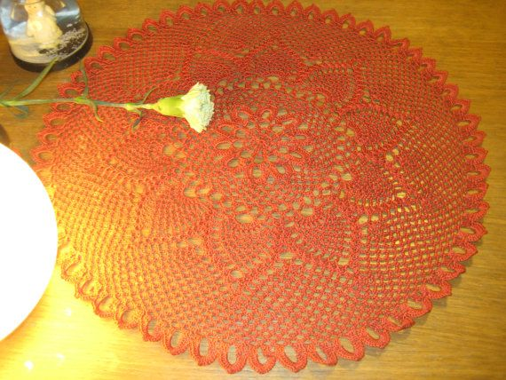 Doily Pineapple  Crocheted Cotton Red Tomato by MinnieCreation, €19.28