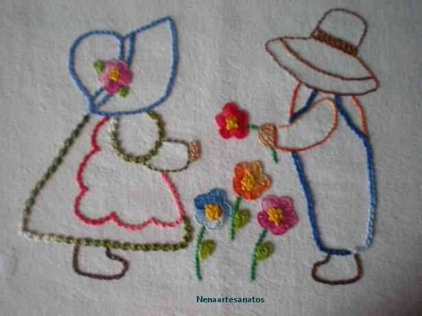 pontos livres: Embroidery Embroidery, Sweet, Sunbonnet Sue Sam, Bordados Embroidery, Leyla Nın Keçe, Embroidery Designs
