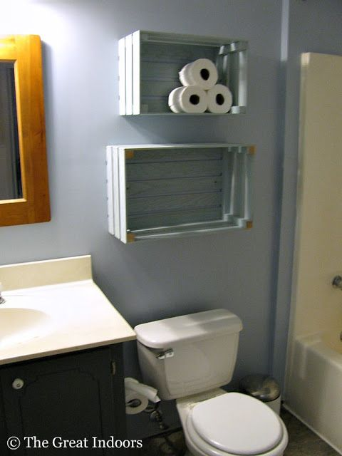 The Great Indoors: Guest Bathroom: Crate Shelving