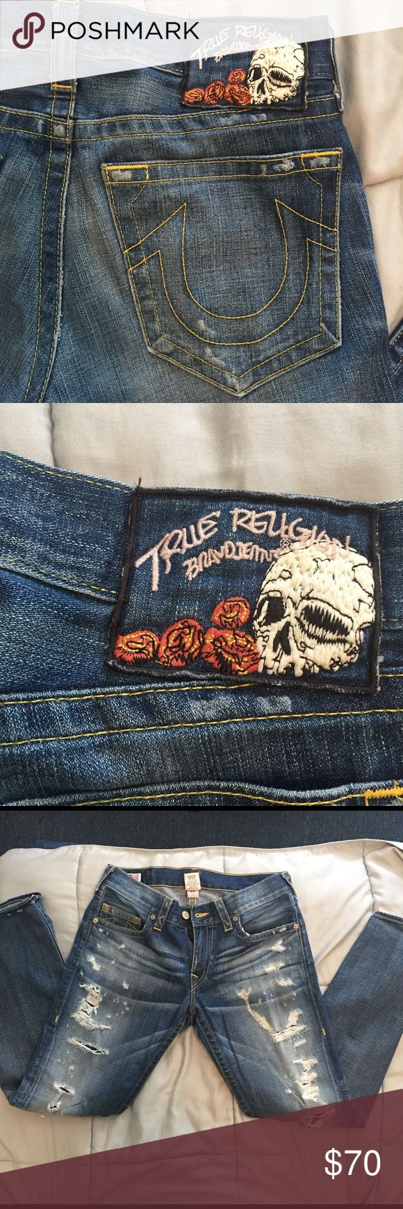 True Religion Ripped Jeans True Religion Ripped Jeans. Worn Once & Like New. 100% Authentic. Fast Shipping. True Religion Jeans Straight