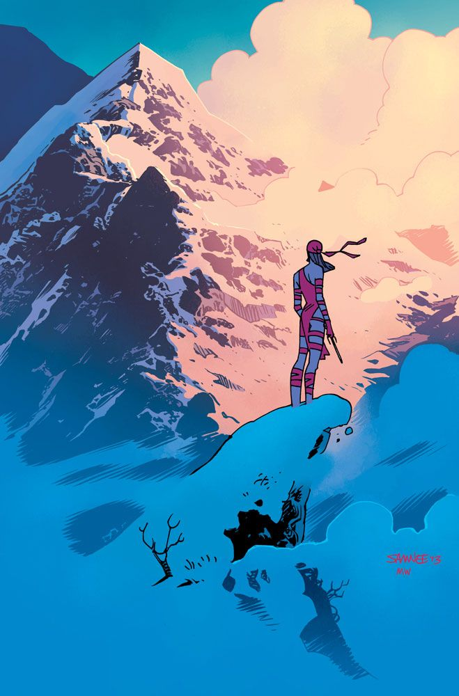 Elektra by Chris Samnee- The use of color alone is great, but Samnee's use of shadows and the composition really drive the point home. The figure standing tall against a huge mountain, not an inch of doubt or fear in the body language.