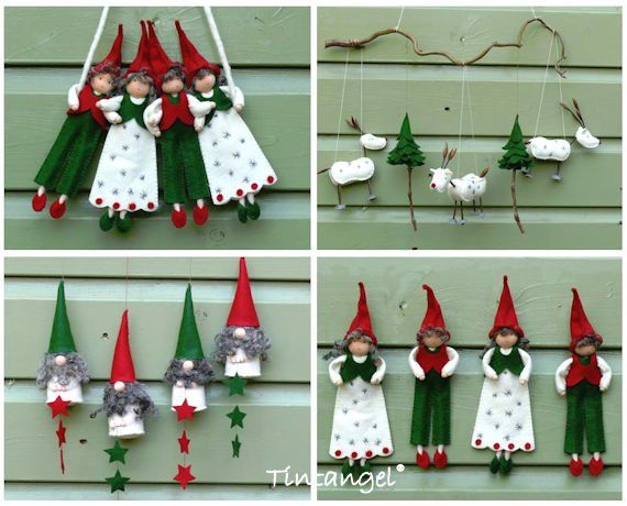 Scandinavian Style Christmas Decorations Pdf Pattern Instand Download Christmas Decorations Primitive Christmas Craft Patterns