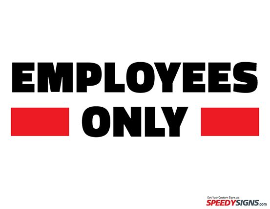 Peaceful image throughout printable employees only sign