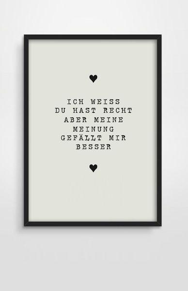 """Druck *Ich weiß Du hast Recht"""" Valentinstag von PAP-SELIGKEITEN – Poster, Drucke, Postkarten auf DaWanda.com"""