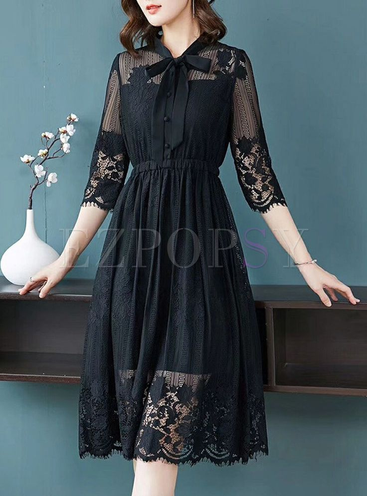 Shop for high quality Black Hollow Out Bowknot Skater Dress online at cheap pric…