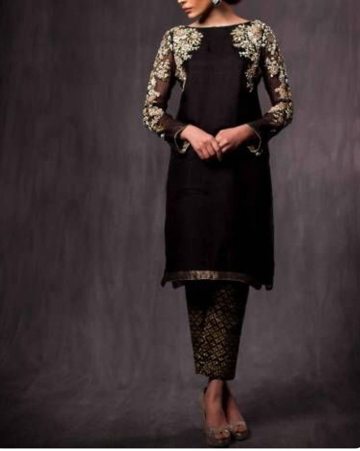 Black georgette zardozi work kurta with pants by Divinepunjboutique on Etsy