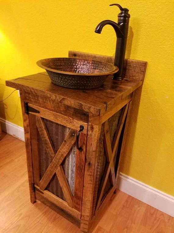 Rustic Barn Wood And Tin Vanity With Hammered Copper Vessel Sink And Oil Rubbed Bronze Faucet In