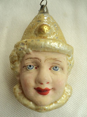 RARE Antique German Glass Christmas Ornament Flapper Girl Head Boy Clown Head | eBay