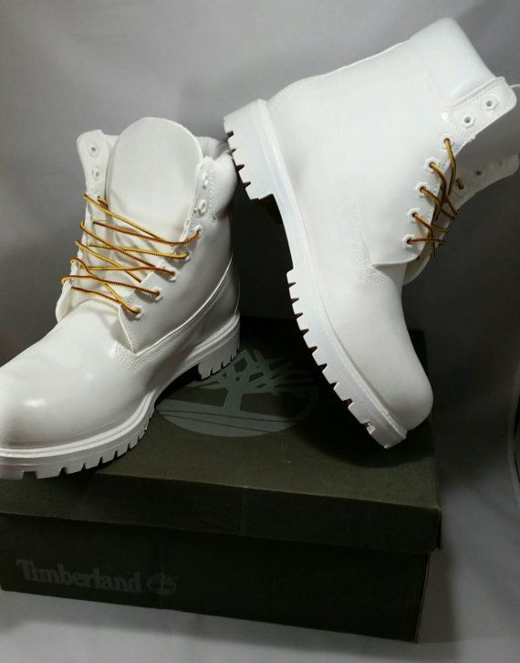 Custom White Cocaine Timberland Boots Hand by DivineUnlimited