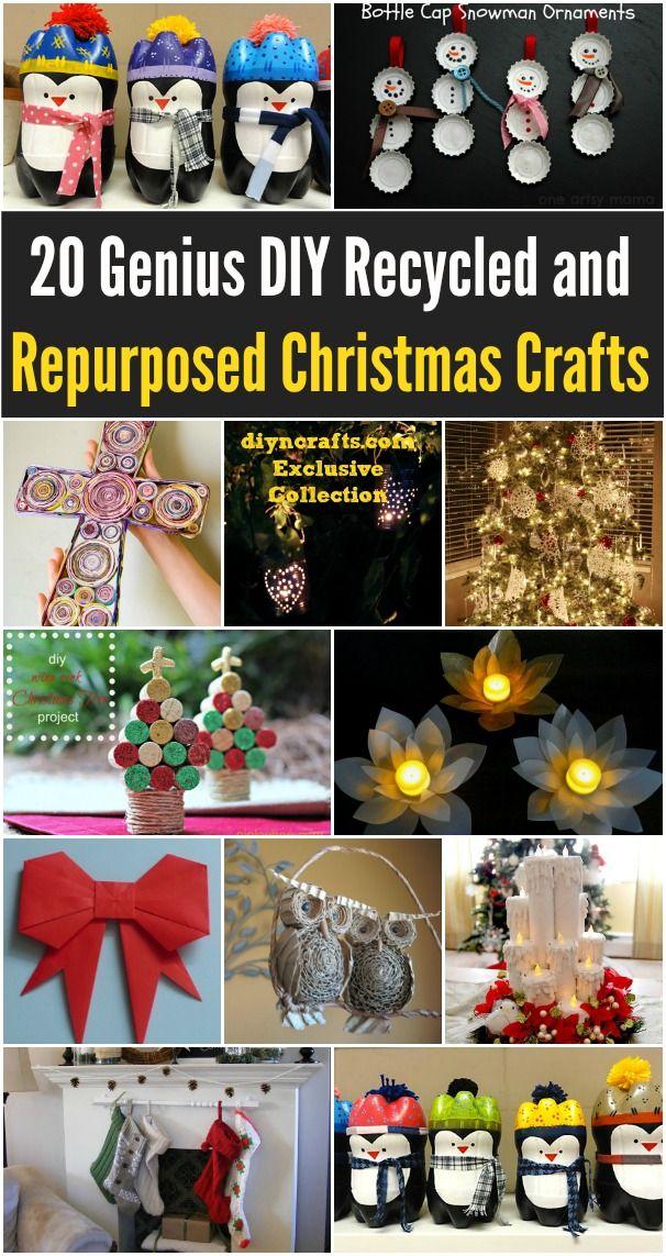 20 Genius DIY gerecycled en hergebruikt Kerstmis Ambachten - Echt goede ideeën voor een sobere kerst versieren ervaring, deze zijn zo makkelijk;  er is voor ieder wat wils.