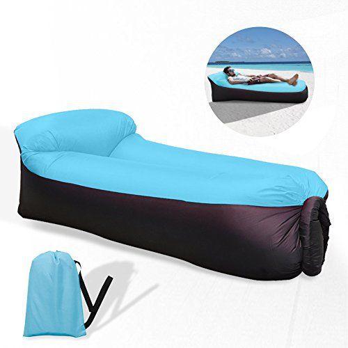 Waitiee durable imperméable à l'eau longue gonflable étanche Lightweight Polyester Air Sofa extérieur avec oreiller pour Camping, parc,…