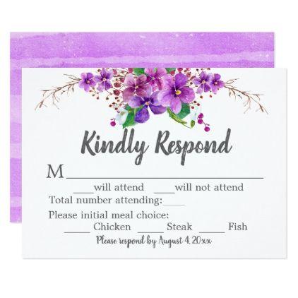 Watercolor Floral Response Card in Purple - wedding invitations diy cyo special idea personalize card