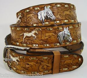 Western Belts | Men's Belts Casual Western Accessories Horse Concho Brown Leather Belt ...