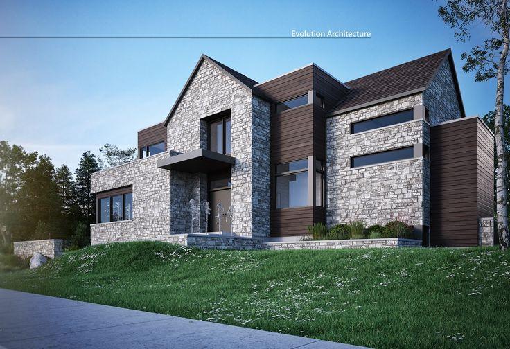 #Architecture#maison #contemporaine #création exclusive E-968 #moderne #design#concept #plan#bois#pierre