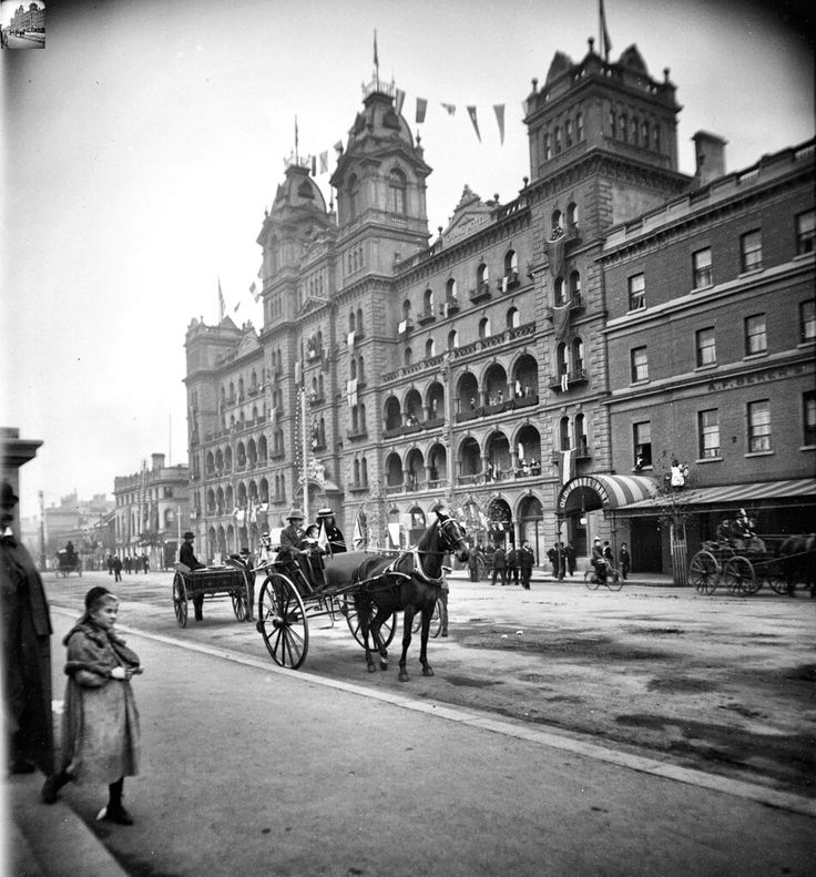 Windsor Hotel and Old White Hart Hotel on Spring St,Melbourne,Victoria (year unknown).