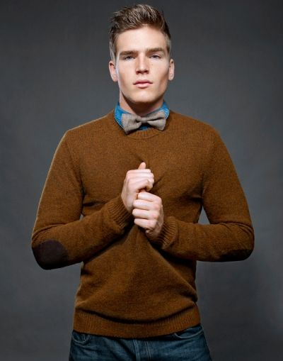 A snuggly jumper and a dicky bow tie - nice