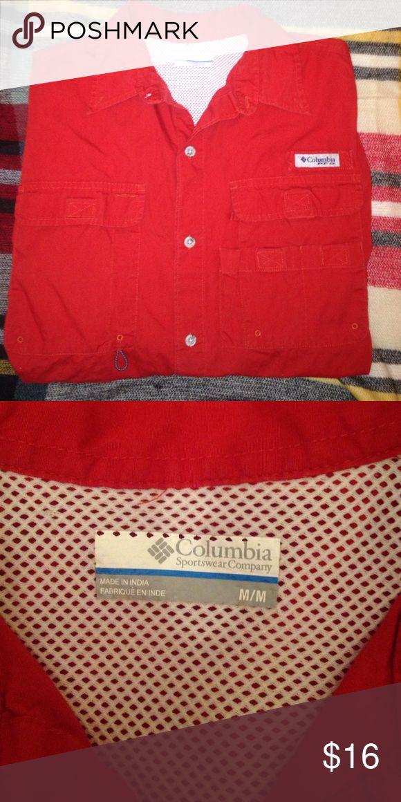 Men's Columbia Short Sleeve PFG Shirt Men's red short sleeve Columbia PFG fishing shirt. Button down with mesh lining inside. Size M. Perfect condition! Columbia Shirts Casual Button Down Shirts