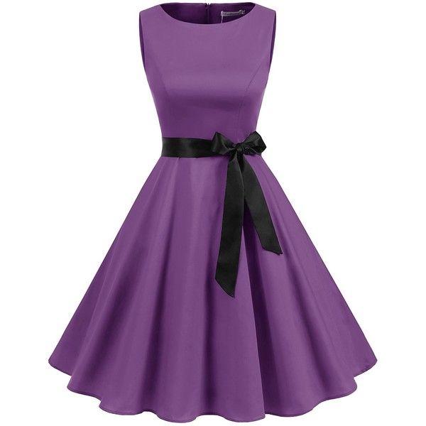 Gardenwed Women's Vintage 1950s Rockabilly Audery Swing Dress... ($27) ❤ liked on Polyvore featuring dresses, retro cocktail dresses, purple cocktail dresses, purple dress, purple prom dresses and rockabilly dresses