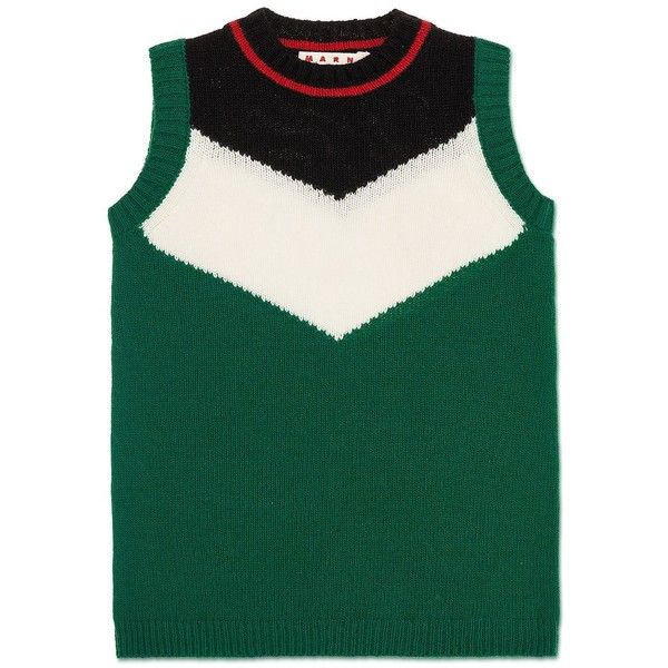 Marni Sleeveless Jumper (6.530 RUB) ❤ liked on Polyvore featuring tops, sweaters, dark green, dark green top, green top, ribbed top, sleeveless sweater and no sleeve sweater