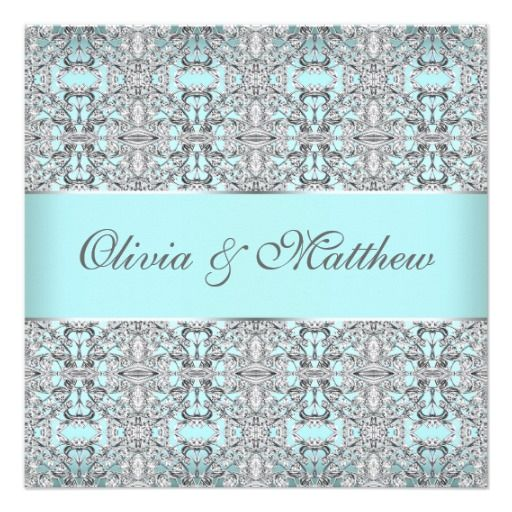 teal blue silver wedding invitation templates