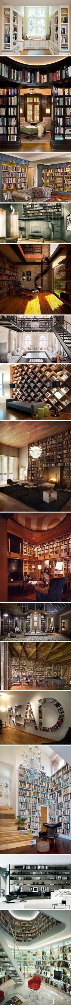 Book nooks/Library of my dreams- various kinds of heaven                                                                                                                                                                                 More