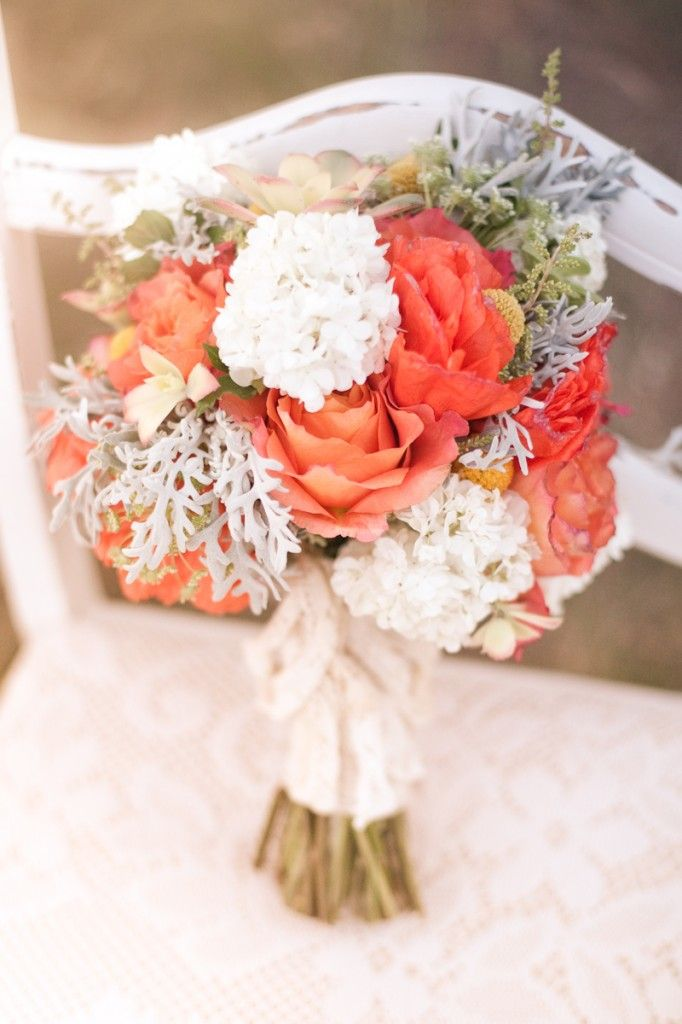 Coral & White Bouquet