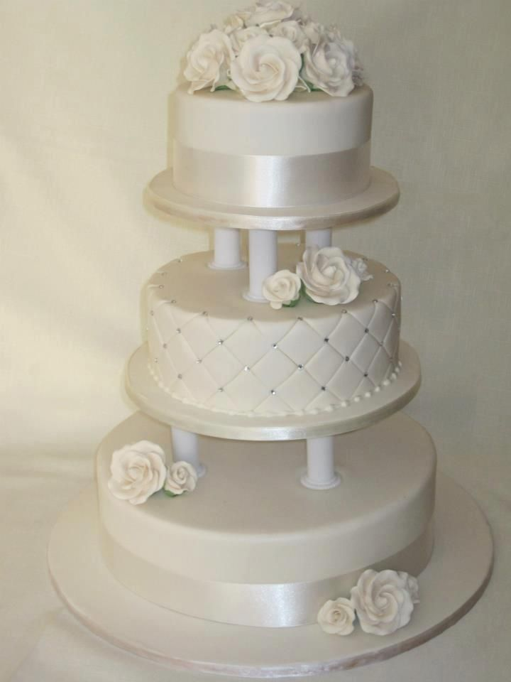 Traditional 3 tier ivory wedding cake