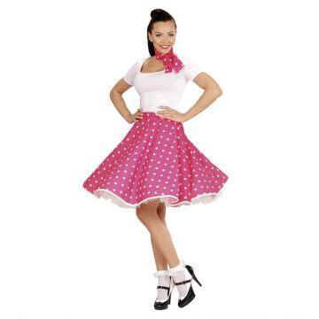 Comprar Falda de Lunares Rosa años 50 con Pañuelo grease talla única. Las faldas de los años 50 al más estilo del musical Grease. Disponemos de más modelos y complementos para tus fiestas de disfraces Grease. https://www.disfracestuyyo.com/grease-te-236.html?%3CosCsid%3E ¡ Te esperamos !
