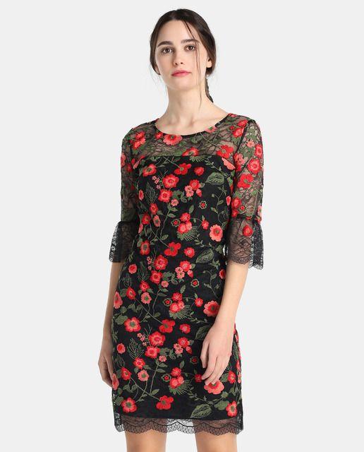 Vestido corto de mujer Fiesta El Corte Inglés con bordado floral
