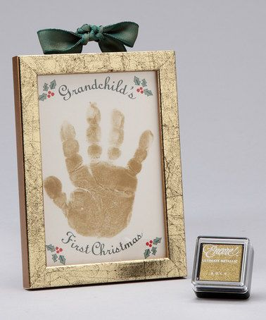 Handprint Frames with Child's name and date. First Christmas handprint ornament?
