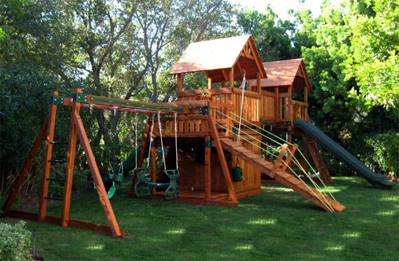 Play well swing sets large outdoor showroom in pasadena california for the home pinterest - How to build an outdoor wooden playground ...