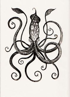 cute squid tattoo - Google Search