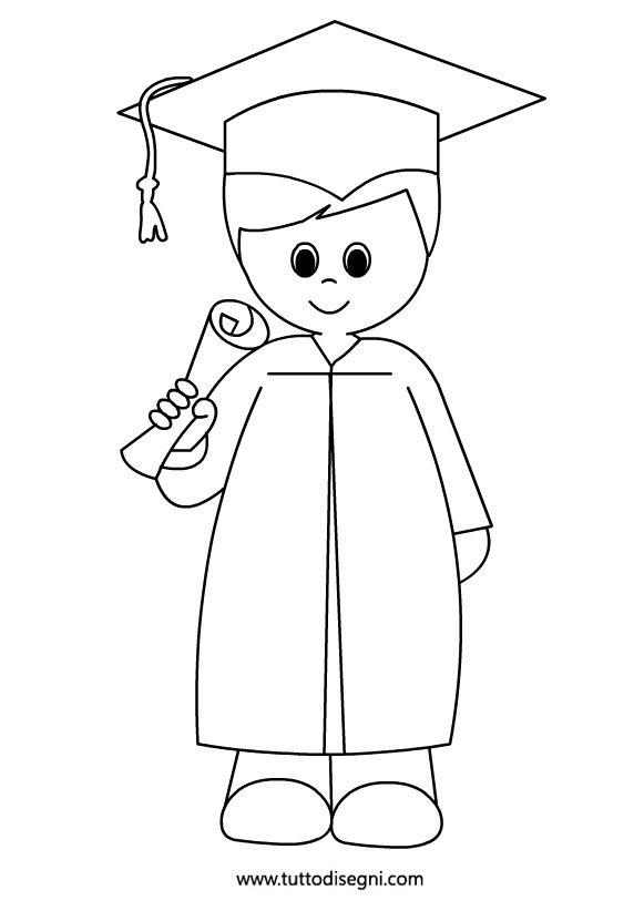 Bambino con diploma da colorare - Tutto Disegni